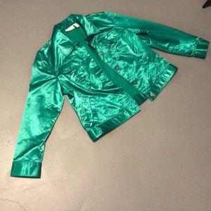 A Chico's shiny green jacket silky feeling
